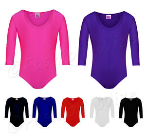 Child Girls Gymnastics Leotard Age 2-12 Stretchy Dance Sports Sleeve Top Uniform