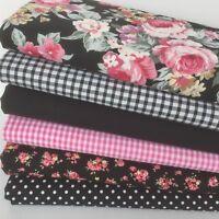 """Bundle 6 fat quarters 100% cotton material/ fabric black florals 18 x 22"""""""
