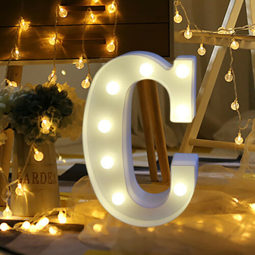A-Z Alphabet LED Letter Lights Light Up White Plastic Letters Standing Hanging F