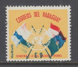 Paraguay-Sc-C272-MNH-1960-3g-UN-Crossed-Flags-Inverted-Center-perf-stain