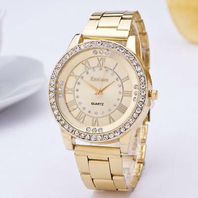 Women's Men's Crystal Rhinestone Stainless Steel Analog Quartz Wrist Watch Uhren