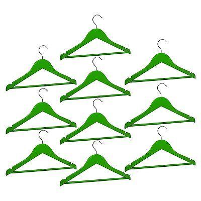 10 Appendiabiti In Legno Per Bambini Kids Clothes Hanger Barra Pantalone Verde-