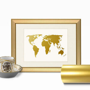 World map faux gold foil wall art print layered real gold leaf image is loading world map faux gold foil wall art print gumiabroncs Choice Image
