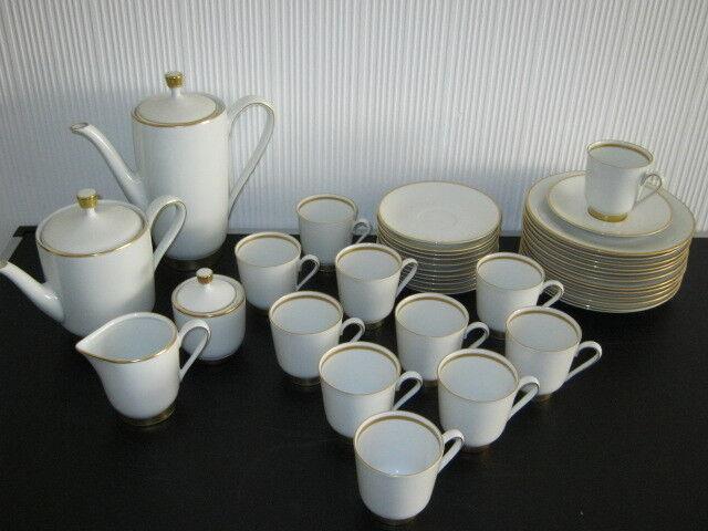 Rheinpfalz Hartporzellan Kaffeeservice weiß mit Goldrand  für 11 Personen