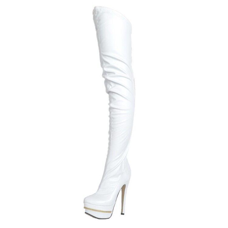 Mujer botas De Plataforma Alto del muslo delgado cremallera en Tacones la espalda cálida Tacones De Aguja Tacones en Altos De Cuero f60cad