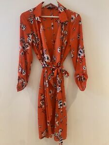 ORANGE-FLORAL-WRAP-DRESS-NEW-EU-40-14-HOLIDAY-BEACH-SUMMER-IBIZA-MARBS-PRETTY