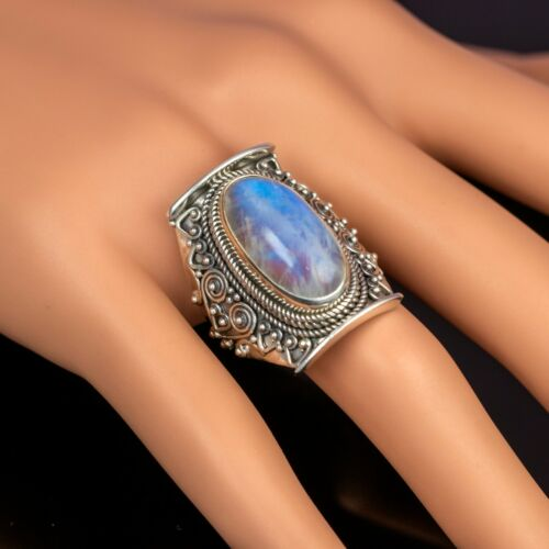New Stunning Moonstone 925 Sterling Silver Oval Gemstone Chunky Ring Gift Boxed