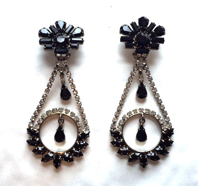 d750937f432 Art Deco Style Clear & Jet Crystal Circular Chandelier Drop Earrings CLIP  ON New
