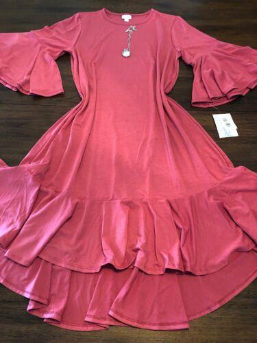 Maurine Nwt roze Kimono effen Xl roze jurk Flouncy hoezen Lange Lularoe y6vmIYbf7g