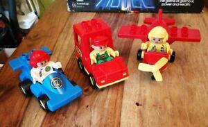 3-vintage-Duplo-vehicules-avec-chiffres-N-2-race-driver-Zoo-Keeper-avion