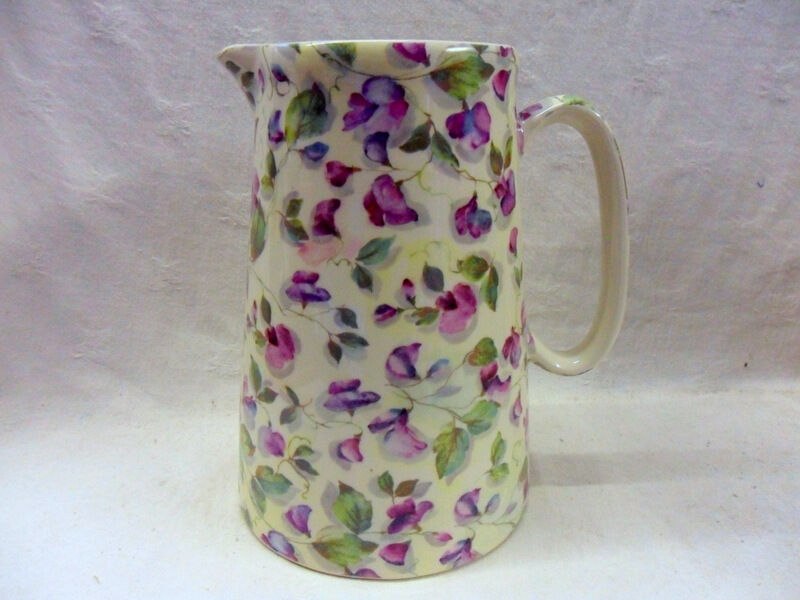 Purple sweet pea design 4 pint pitcher jug by Heron Cross Pottery
