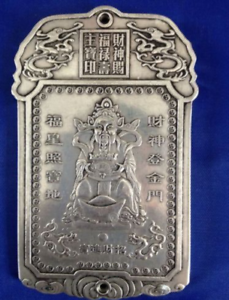 collectibles Chinese Old Wealth comes tibet Silver Bullion thanka amulet