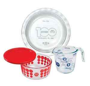 Pyrex-4PC-Glass-storage-bake-4cup-round-2cup-measuring-cup-pie-plate-crazy-sale