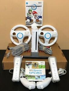 Nintendo-Wii-Console-Bundle-Mario-Kart-Wii-Sports-Wheels-2-Controllers-FREE-SHIP