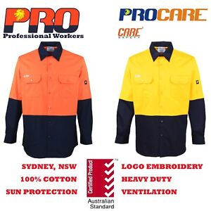 1-pack-Hi-Vis-Work-Shirt-vented-cotton-drill-long-sleeve-Safety-WORKWEAR-Uniform