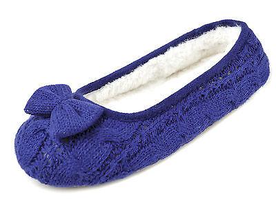 Ladies Girls Knitted Ballerina Arco Piel Zapatillas Rosa Azul Tamaño 3/4 5/6 7/8