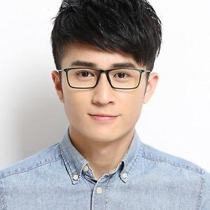 32018cafc4 Image is loading Thin-Rectangle-Optical-Frame-Black-Plastic-Eyeglass-Men-