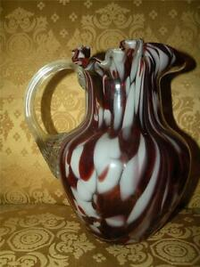 ANTIQUE-VICTORIAN-SPATTER-GLASS-red-white-PITCHER-w-applied-reeded-handle