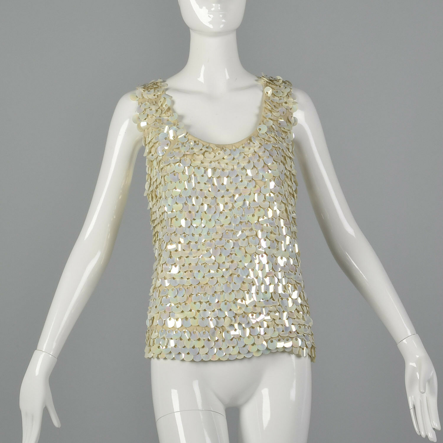Large 1960s Sleeveless Knit Sweater with Paillettes Vintage Blouse 60s Sequin
