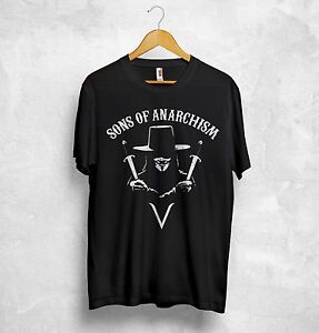 Details about V for Vendetta T Shirt Sons of Anarchism Anarchy Anonymous  4chan Hacktivism