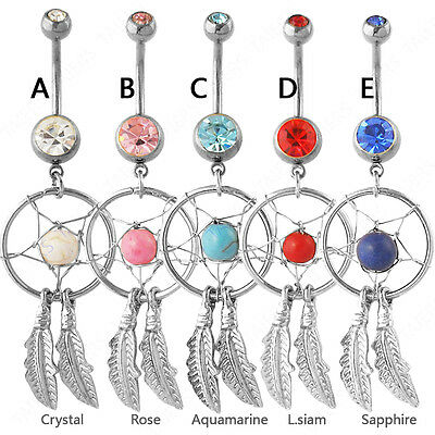 Crystal Gem Dream Catcher Wings Navel Dangle Belly Barbell Button Body Ring