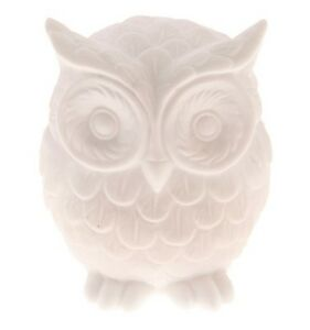 Image Is Loading White Ceramic Owl Decoration Bird Ornament