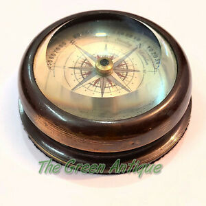 Brass Nickle Plated Lid Compass Maritime Collectible Gift