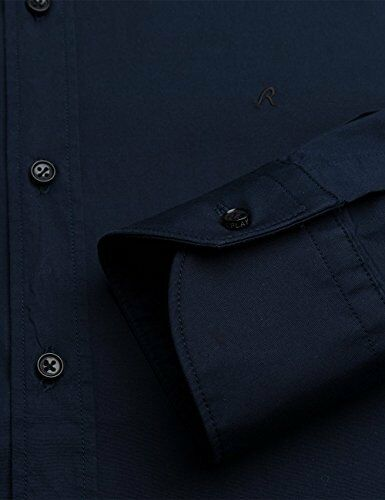 Replay Jeans Smart Casual Shirt M4941b 80279a Navy Blue Stretch Slim Fit
