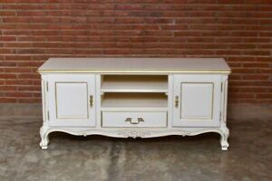 Baroque-Tv-Kommode-Buffet-Meuble-TV-Console-Creme-or-Antique-Massif-Neuf
