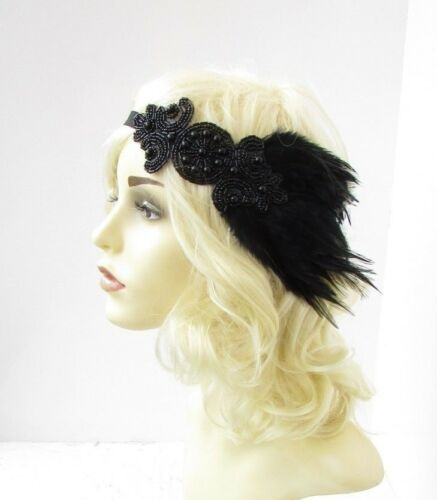 Black Beaded Feather Headpiece 1920s Headband Flapper Great Gatsby Vtg 30s 6620