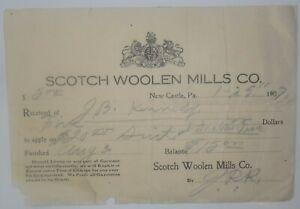 1907-Billhead-Receipt-Pennsylvania-New-Castle-Scotch-Woolen-Mills