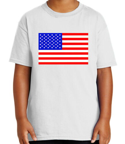 1073C American Flag on the chest of Kid/'s T-shirt US of America Tee for Youth