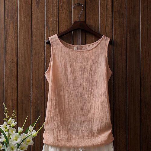 Ladies Linen Cotton Vest Sleeveless Top Tanks Strap Camisole Tee Shirts Vintage