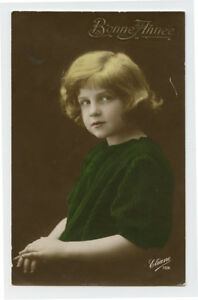 c 1920 Child Children SERIOUS YOUNG GIRL photo postcard