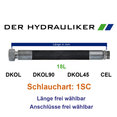 NW16 Metrisch 130bar - DKOL//45//90//CEL SW32 Hydraulik Schlauchleitung 1SC 18L