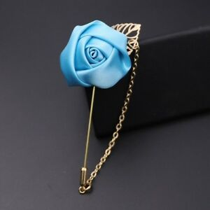 0818c5aa212da Details about men suit lapel flower pin brooch with chain colour turquise  for party wear