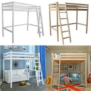 Details About Wooden Frame Cabin Bed High Sleeper Bunk Children Kids Ladder Bedframe Tall Beds