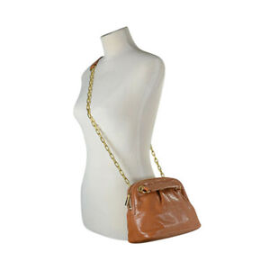 13be3e6a83f NWT Tory Burch LUGGAGE Leather DENA REVA Gold Chain Zip Mini Bag ...