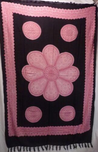 Large Batik Sarong Shawl Pareo Wrap Beach Skirt Dress free size black pink green