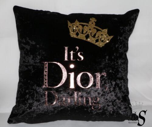 or paillettes CROWN Black Crushed Velvet Rose Gold Foil Custom Cushion.
