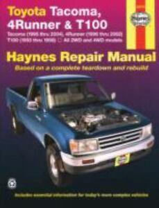 haynes repair manual toyota tacoma 1995 thru 2004 4runner 1996 rh ebay com 2004 4runner repair manual pdf 2004 toyota 4runner repair manual