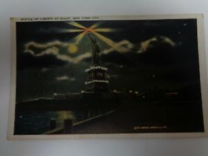 Statue-of-Liberty-at-Night-New-York-City-New-York-Unposted-Postcard