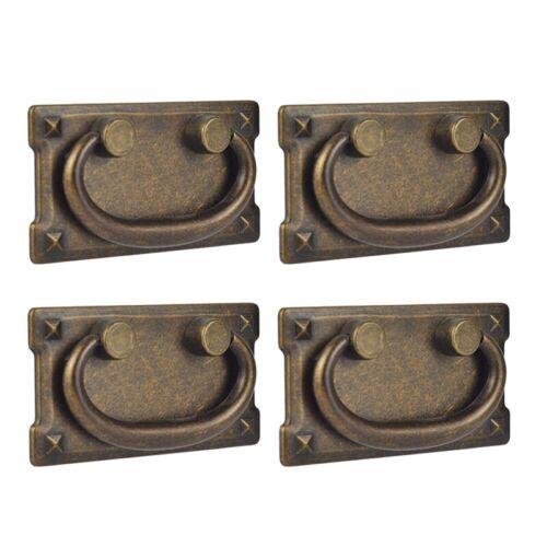 4Pcs Vintage Antique Bronze Drawer Ring Pull Handles Cabinet Door Furnitur K3Y9