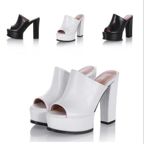 Platform Super High Heel Damen Schuhe Open Toe Pantoletten Blockabsatz Sandalen