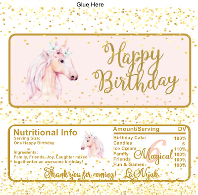 12 Hershey Candy Bar Wrappers Unicorn Sweet 16 Birthday Personalized Baby Custom