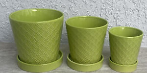 """Succulent Planter Ceramic Flower Pot with Drainage Hole and Ceramic Tray 3""""+4""""+5"""