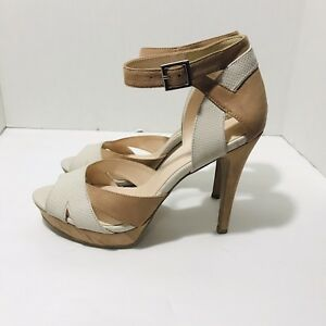 Nine-West-Size-9-5-High-Heel-Pumps-Faux-Suede-Leather-Peep-Toe-Ankle-Strap-NWOB