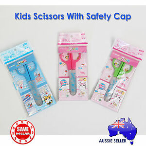 Office-Craft-Kids-Stainless-Steel-Scissors-Safety-Cap-Student-School-Stationery