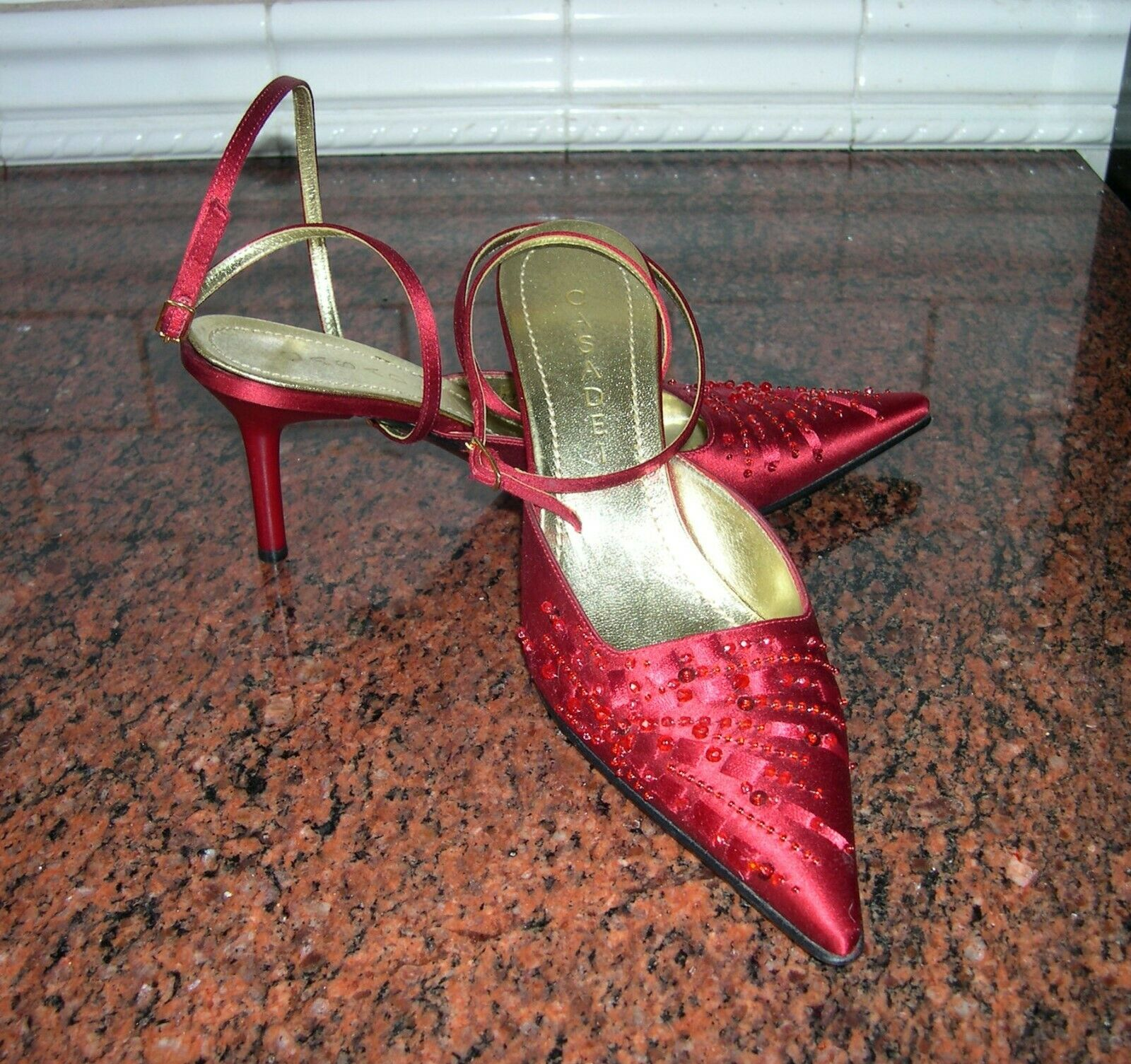 Casadei satin high heels, red  beaded formal party shoe, 37 6-6.5