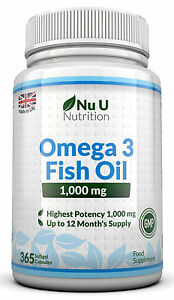 Omega 3 1000mg Fish Oil High Strength 365 Softgels  DHA ,EPA 100% Guaranteed   602938997232
